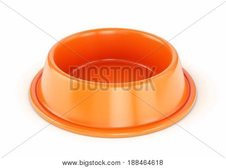 Orange plastic pet bowl for dogs or cats isolated on white background. 3D illustration