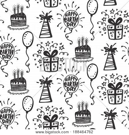 Birthday party seamless patterns with hand drawn doodles of gift box, balloons, cakes, isolated on white. Greeting card, invitation, wrapping paper background. Vector illustration