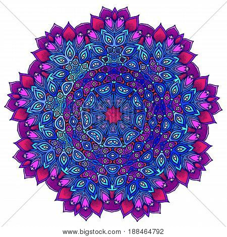 Detailed ornamental mandala ona in a purple and blue. Ethnic ornament. Isolated on a white background. Vector illustration.