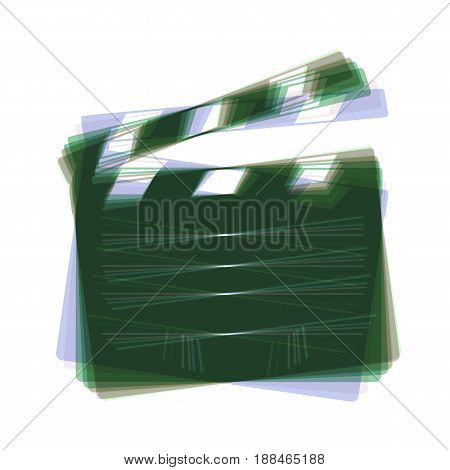 Film clap board cinema sign. Vector. Colorful icon shaked with vertical axis at white background. Isolated.