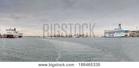 Helsinki, Finland-november 12: Silja And Viking Line Ferries In Port Of The City Of Helsinki, Finlan