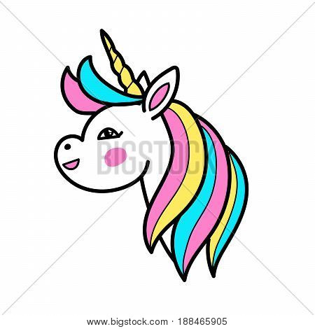 White unicorn vector head with rainbow mane and horn. Vector unicorn on white background. Cartoon linear patch style.