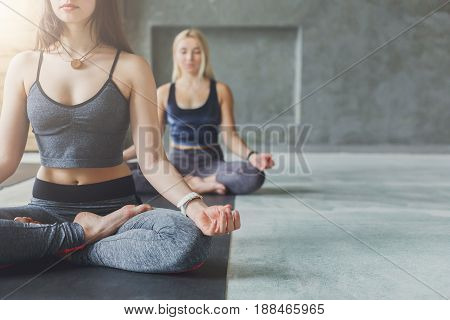 Two young women crop in yoga class making exercises. Meditation lotus pose, copy space