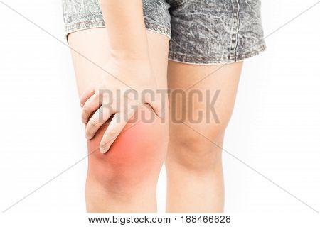 Knee bones pain white background Knee injury