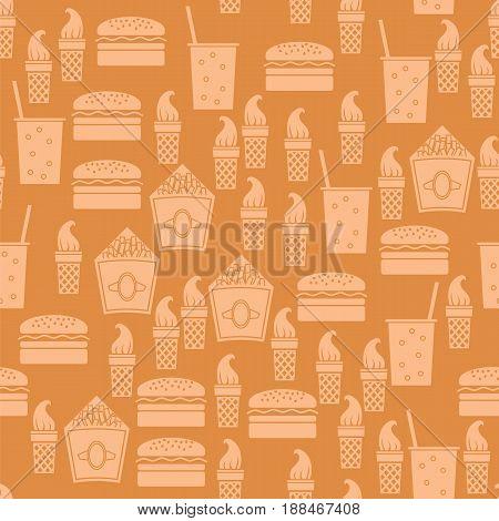Fastfood Silhouette Seamless Pattern on Orange Background