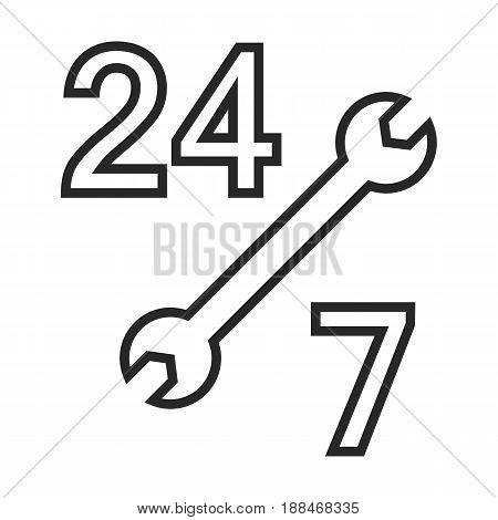 24 On 7 Car Service Vector Icon
