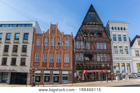MINDEN, GERMANY - MAY 22, 2017: Historic house Haus Schmieding at the market square in Minden, Germany