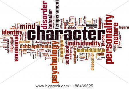 Character word cloud concept. Vector illustration on white