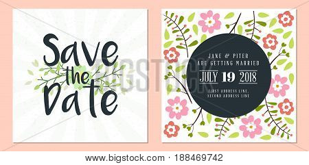Save The Date. Wedding Invitation Double-sided Card Design Template. Stationery Design. Vector Illus