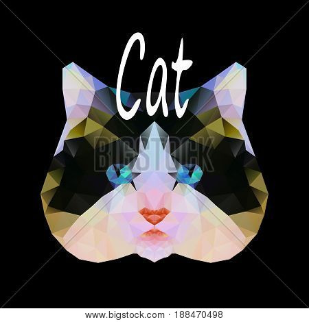 Polygonal vector illustration of a cat animal, graphic modern design backgrounds in a mosaic style vector illustration of an eps10