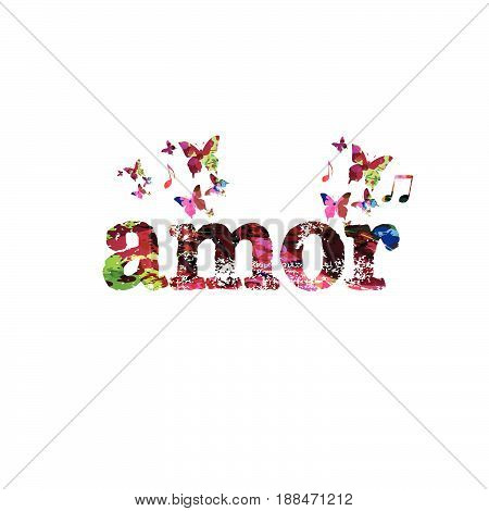 Amor calligraphy lettering with butterflies isolated vector illustration
