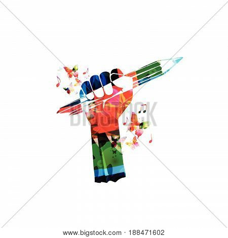 Colorful hand with pencil vector illustration. Creative writing, education background