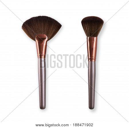 Makeup blush brushes set in row on white isolated background. Cosmetics and beauty.