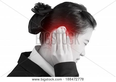 Ear Pain Symptom In A Businesswoman Isolated On White Background. Clipping Path On White Background.