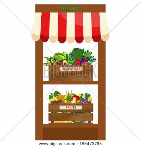 Fresh organic food products shop. Local market farmer selling fruits and vegetables produce on his stall with awning. promote healthy eating concept. Food market.