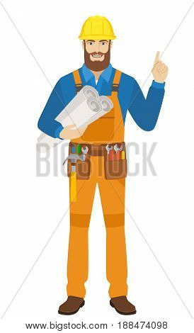 Worker holding the project plans and pointing up. Full length portrait of worker character in a flat style. Vector illustration.