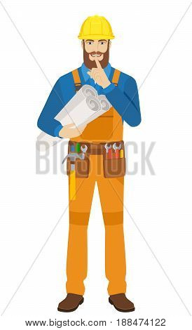 Worker holding the project plans and making hush sign. Full length portrait of worker character in a flat style. Vector illustration.