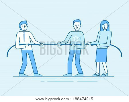 Vector Illustration In Trendy Flat And Linear Style And Blue Colors - Teamwork Concept