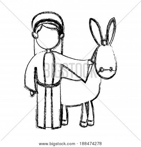 cute joseph and donkey manger design vector ilustration