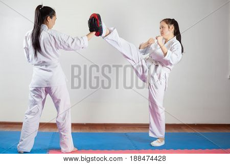 Two Girls Demonstrate Martial Arts Working Together