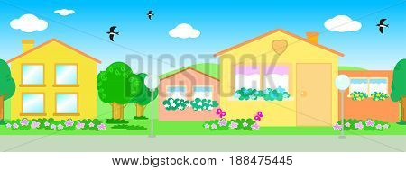 Cartoon colorful urban landscape with seamless line of houses vector