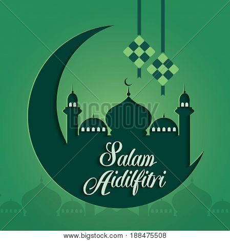 Selamat Hari Raya Aidilfitri vector illustration with traditional malay mosque. Caption: Fasting Day of Celebration