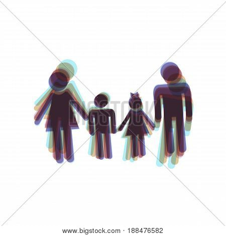 Family sign. Vector. Colorful icon shaked with vertical axis at white background. Isolated.