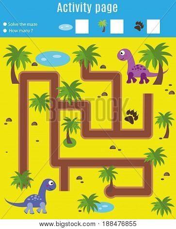 Activity page for kids. Educational game. Maze and counting game. Help dinosaurs meet. Fun for preschool years children. Fun for preschool years children. Learning mathematics