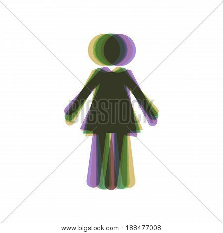 Woman sign illustration. Vector. Colorful icon shaked with vertical axis at white background. Isolated.