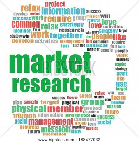 Text Market Research. Business Concept . Word Cloud Collage