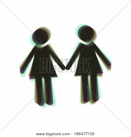 Lesbian family sign. Vector. Colorful icon shaked with vertical axis at white background. Isolated.