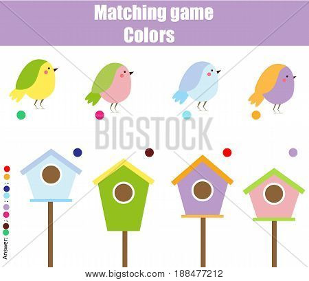 Educational children game. Matching game worksheet for kids. Match by color. Find pairs of birds and birdhouse. Learning colors animals theme