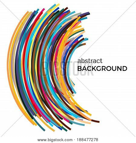 Abstract background with multicolored curved lines in a chaotic order. Colored lines with place for your text on a white background.