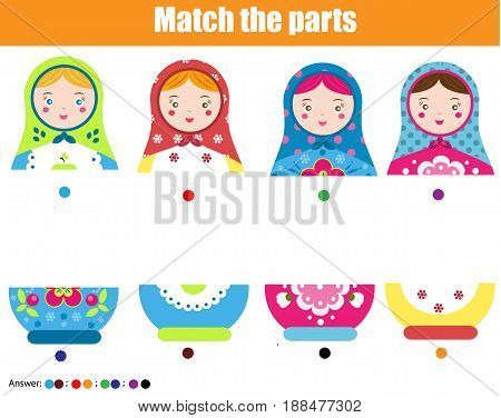 Educational children game. Matching game worksheet for kids. Match by color. Find halfs of matreshka doll