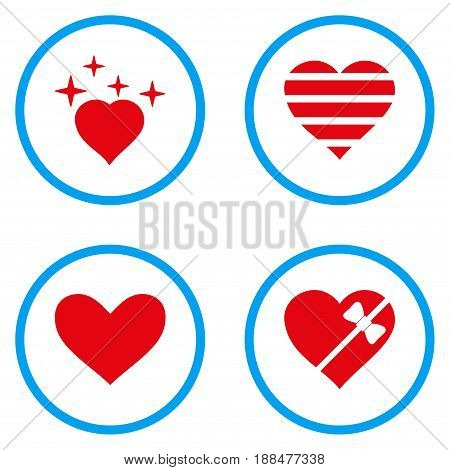 Favourites Heart rounded icons. Vector illustration style is a flat iconic symbols inside blue circles. Designed for web and software interfaces.