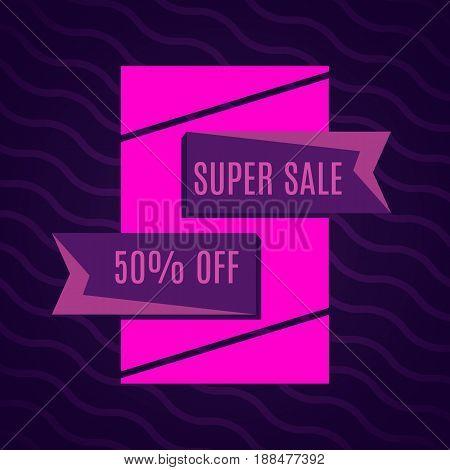 Super sale pink bannes on dark pink background. Vector background with colorful design elements. Vector illustration.