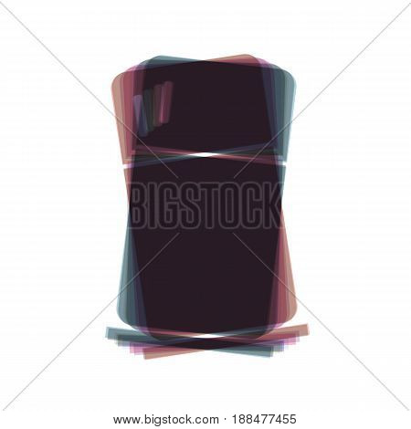 Refrigerator sign illustration. Vector. Colorful icon shaked with vertical axis at white background. Isolated.