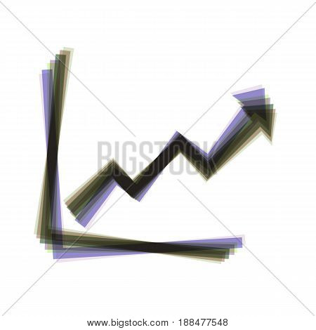 Growing bars graphic sign. Vector. Colorful icon shaked with vertical axis at white background. Isolated.