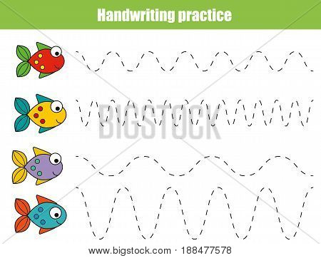 Handwriting practice sheet. Educational children game restore the dashed line. Writing training printable worksheet with with wavy lines and fish