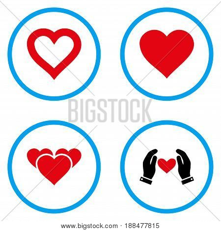 Heart Love rounded icons. Vector illustration style is a flat iconic symbols inside blue circles. Designed for web and software interfaces.