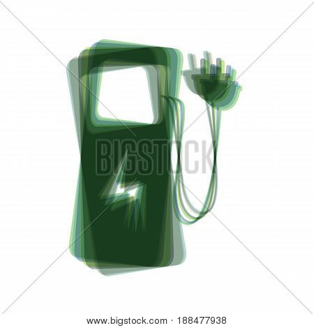 Electric car charging station sign. Vector. Colorful icon shaked with vertical axis at white background. Isolated.