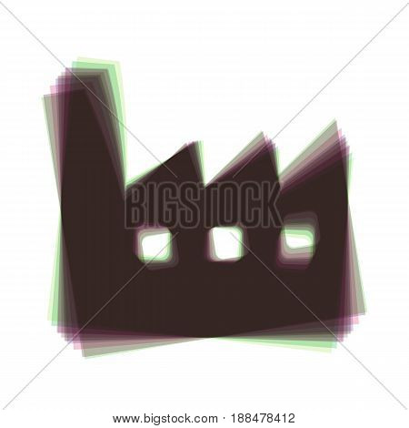 Factory sign illustration. Vector. Colorful icon shaked with vertical axis at white background. Isolated.