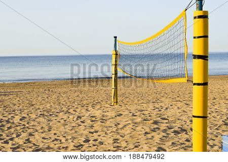 Beach volleyball on the sand of Amoudara beach in Crete