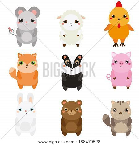 Cute animals. Children style isolated design elements. Cartoon kawaii wildlife and farm animals. Mouse fox badger rabbit and other. Vector illustration