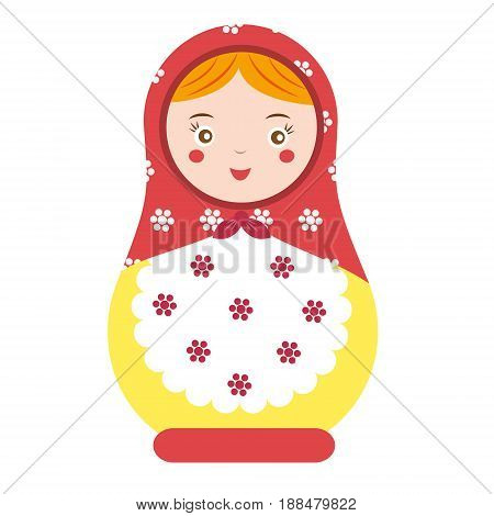 Matryoshka. Traditional russian nesting doll. Smiling Matreshka icon. Vector illustration clip art