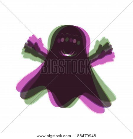 Ghost sign. Vector. Colorful icon shaked with vertical axis at white background. Isolated.