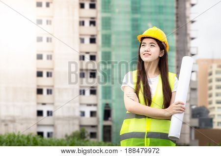 Beautiful woman Asian building consrtuction concept - smiling businesswoman