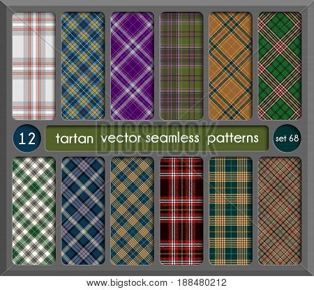 Set Tartan Seamless Pattern Background. Red Black Green Brown Gold Blue and White Plaid Tartan Flannel Shirt Patterns. Trendy Tiles Vector Illustration for Wallpapers.