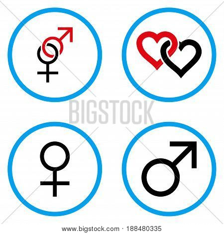 Sex Symbols rounded icons. Vector illustration style is a flat iconic symbols inside blue circles. Designed for web and software interfaces.