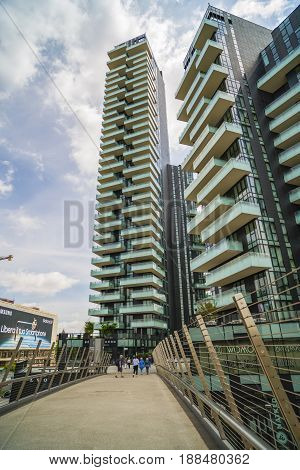Milan, Italy-may 13, 2017: Panoramic View Of The New Futuristic Architecture Buildings Of Gae Aulent